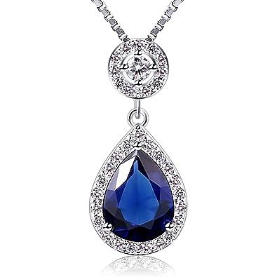 B.Catcher Jewellery Angel Tears Necklace Blue Teardrop Gems Cubic Zirconia Silver Necklaces oZCghG25KQ