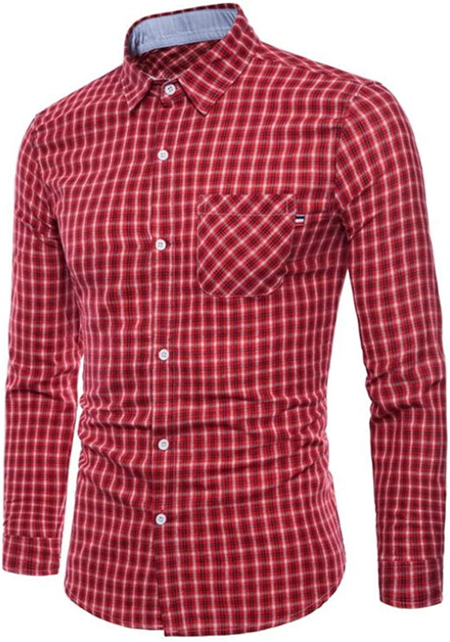 CRYYU Men Casual Cotton Collared Checked Long Sleeve Plaid Button Down Shirt