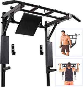 Wall Mounted Pull Up Bar and Dip Station Multi-Grip Chin-Up Bar Dip Stands Compact Power Tower for Indoor Home Gym Workout Multifunctional Fitness Training Equipment