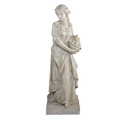 "Northlight 31.5"" Ivory Colored Barefoot Woman with Basket Outdoor Garden Statue : Garden & Outdoor"
