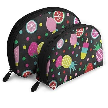 Amazon.com   Makeup Bag Tropical Leomon Pineapple Polka Dot Portable Shell  Toiletry Organizer For Women Thanksgiving Day Gift Pack - 2   Beauty c49d87321c59d