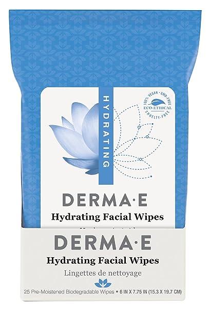 Toallitas faciales hidratantes, 25 prehumedecida compostables toallitas - Derma E