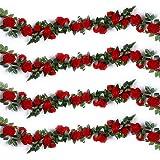 210 cm 15 Blüten DEKO HOCHZEIT GIRLANDE ROSEN  DUNKEL-ROT ROSENGIRLANDE