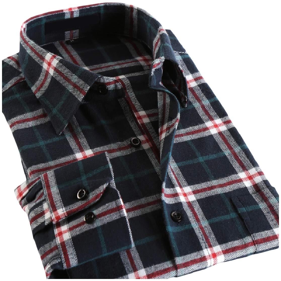 YUNY Mens Plaid Lounge Button Long-Sleeve Lapel Cotton Slim Tees Top Shirts Pattern18 2XL