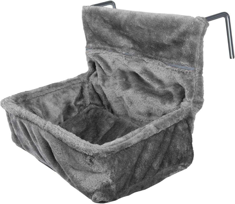 Navaris Cama para Gatos para enganchar en el radiador - Hamaca Colgante de Felpa con cojín y Marco de Metal Ajustable - Peso máximo de 6 kg - Gris
