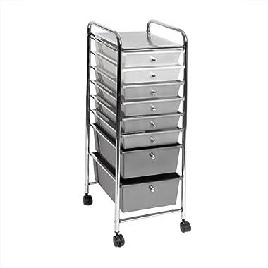 Seville Classics 8-Drawer Storage Bin Organizer Cart, White/Gray/Black Gradient