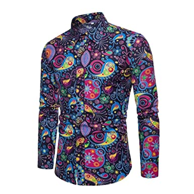 1a1744b3e9 GREFER Mens 2018 New Style Casual Long Sleeve Shirt Business Slim Fit Shirt  Print Blouse Top
