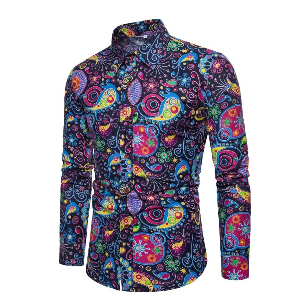GREFER Mens 2018 New Style Casual Long Sleeve Shirt Business Slim Fit Shirt Print Blouse Top (XL, Navy)