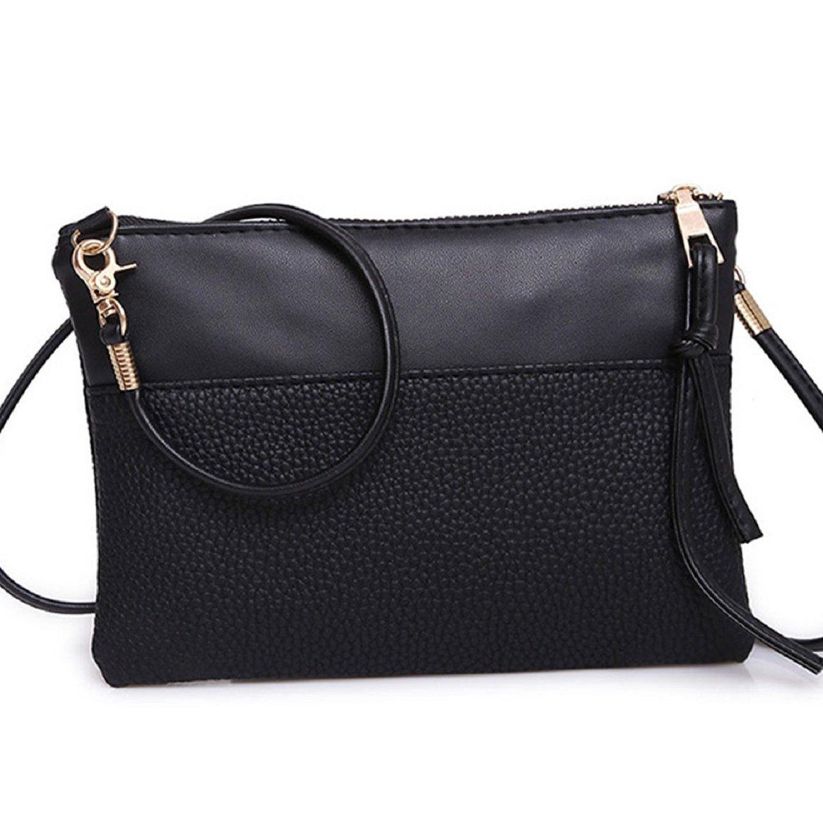 Coerni Women Zipper Shoulder Bag PU Leather (Black)