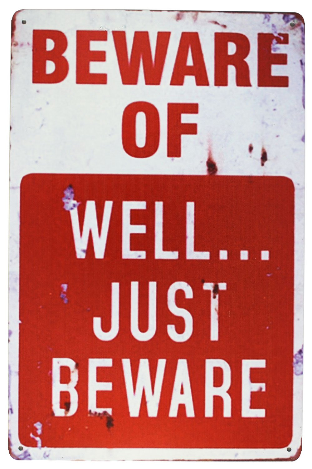 SUMIK Beware of Well JUST Beware Metal Tin Sign Vintage Plaque Art Poster Garage Man Cave Home Wall Decor China
