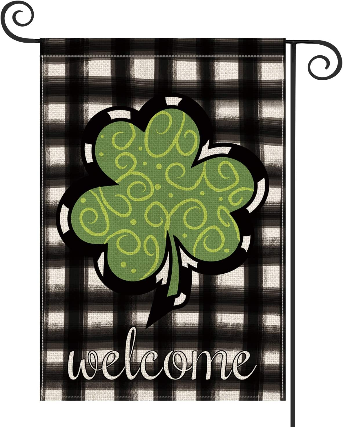 AVOIN Welcome Watercolor Buffalo Plaid Shamrock Garden Flag Vertical Double Sided, St Patrick's Day Yard Outdoor Decoration 12.5 x 18 Inch