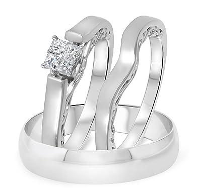 1/4 CT. T.W. Anillo de compromiso para mujer con diamantes y ...