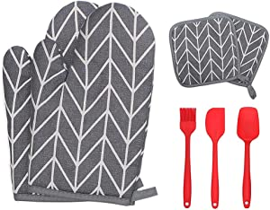 Ahoseiy Oven Mitts and Pot Holders 7pcs Set, Heat Resistant Oven Mitt with Kitchen Utensils Set Soft Cotton Lining and Non-Slip Surface Safe for BBQ Cooking Baking Grilling