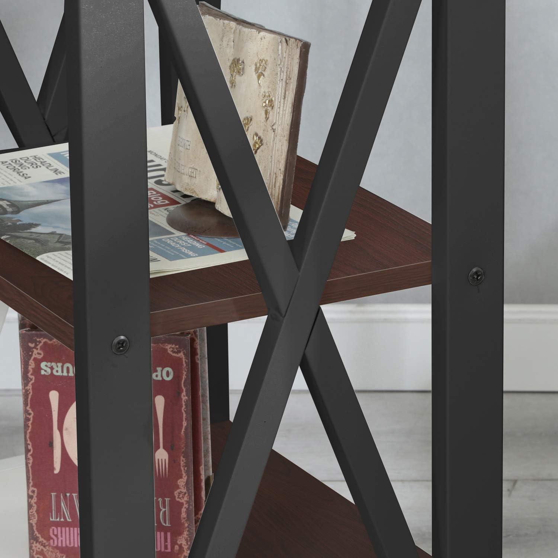sogesfurniture Vintage Beistelltisch Nachttisch Nachtkonsole mit 2 Ablagen Schwarz Walnu/ß BHEU-DX-240A-BW 40x30x60cm Stabil Ablagetisch Telefontisch mit Metallgestell