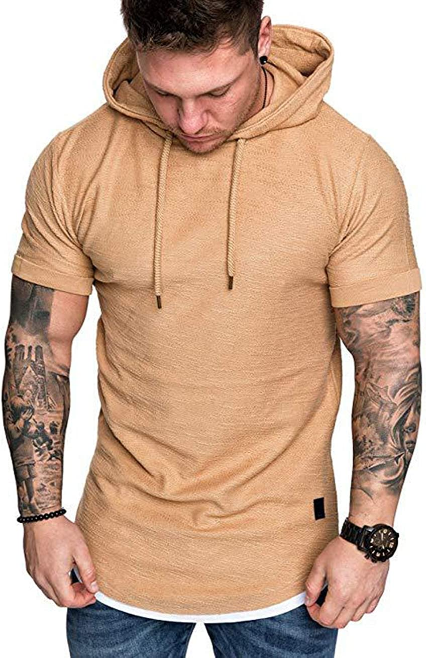 FUOE Mens Casual Short Sleeve Slim Fit T-Shirt Bodybuilding Tees