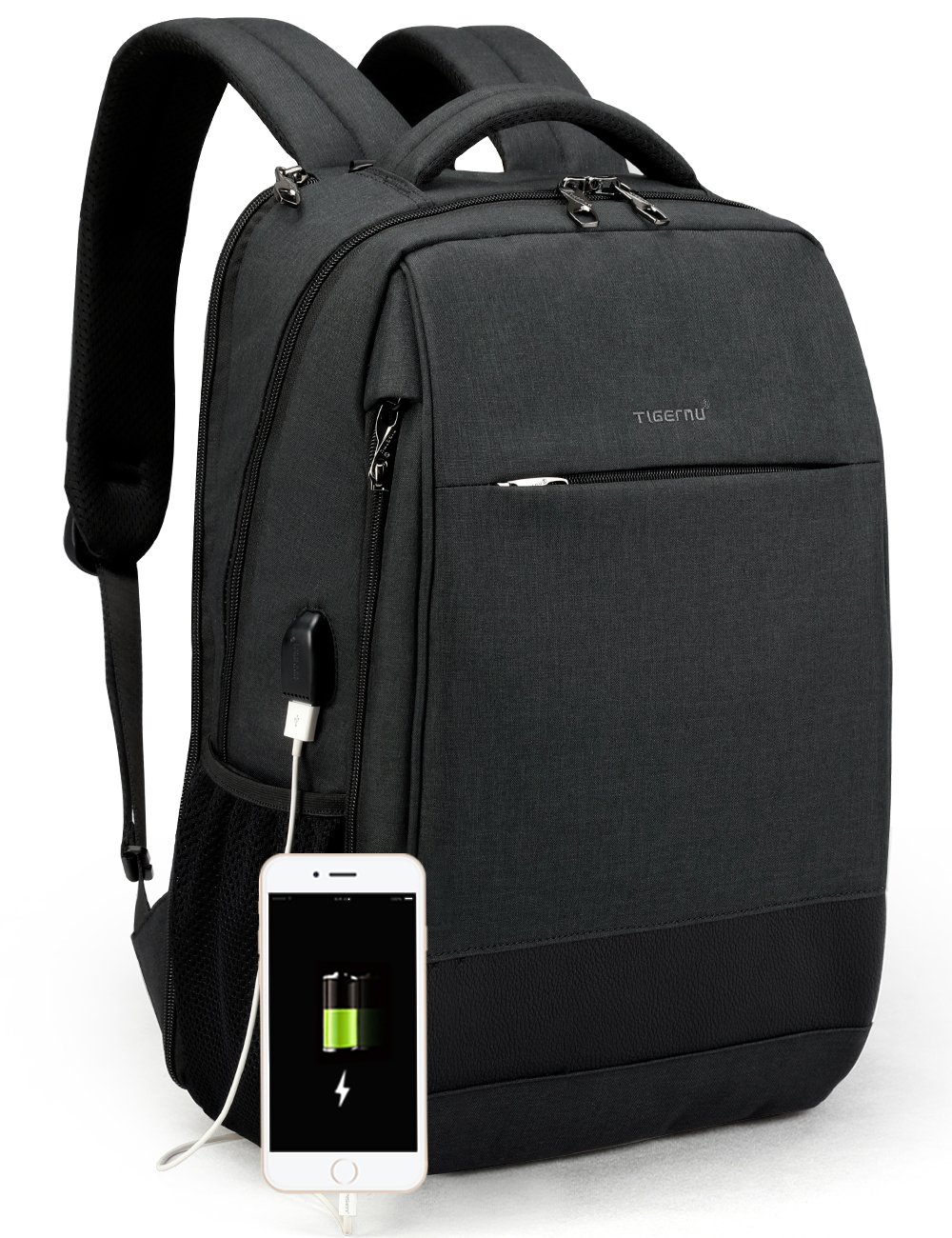 ... Laptop Backpack Anti Theft Waterproof Mochila Rucksack with USB  Charging Port Travel Business School Bag for Men Women Fit 14 15.6 Inch  Computer (Black) c080ce9446b7e