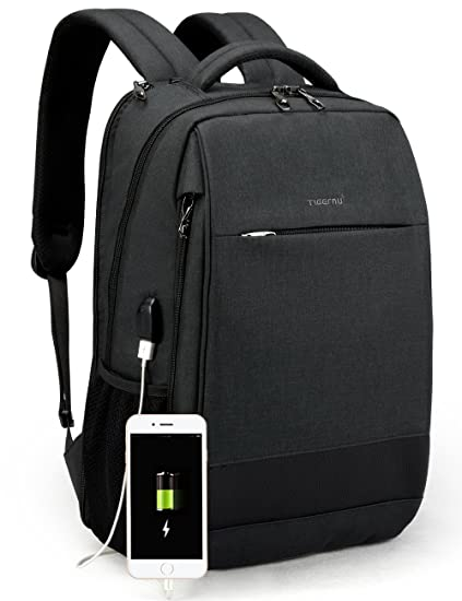 8b0fe6b7a8 TIGERNU Slim Laptop Backpack Anti Theft Waterproof Mochila Rucksack with USB  Charging Port Travel Business School