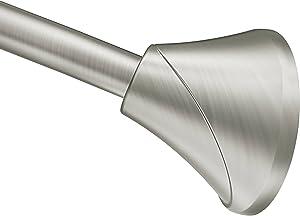 Moen CSR2172BN 5-Foot Adjustable Tension Single Curved Shower Curtain Rod, Brushed Nickel