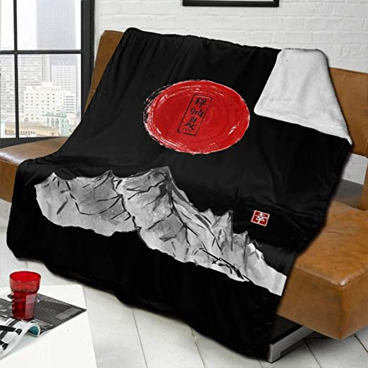 Mountains and red Sun Hand Drawn with Ink in Traditional Japanese Warm and Comfortable Soft Blanket Blanket Silver Fox Down Cashmere Blanket
