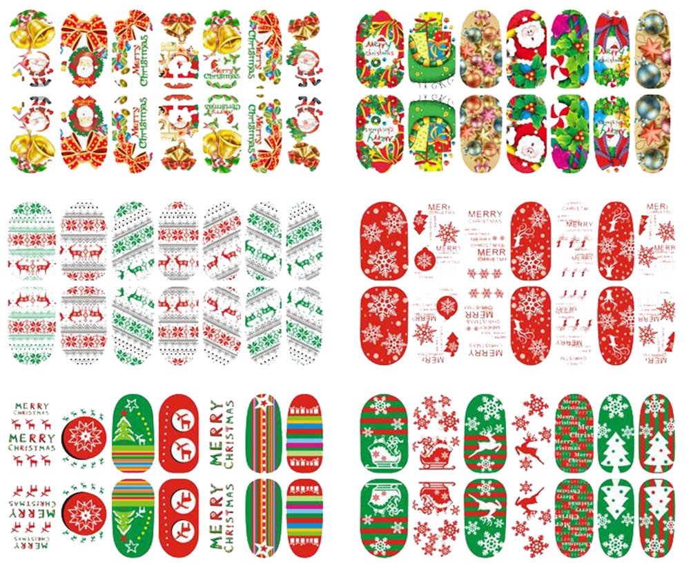 Hosaire Ensemble de 6Pcs Noël Nail Sticker 3D Impression Autocollants à ongles Nail Sticker Tattoo Stickers Pour Ongles Nail Outils Artistiques