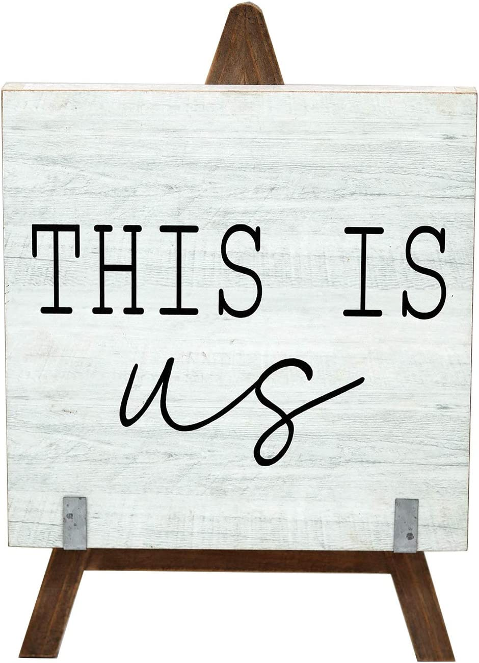 Parisloft This is Us Wooden A-Frame Freestanding Home Decor,Farmhouse Wood Signs | Vintage Decor for Tables, Wedding Decor, Table Top, Home and Kitchen (White)