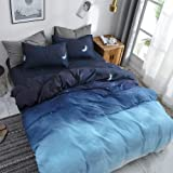 HYPREST Blue Duvet Cover Twin Size, Star Moon Printed Cooling Summer Aesthetic Duvet Cover Set,Soft Twin Bedding Sets for Tee