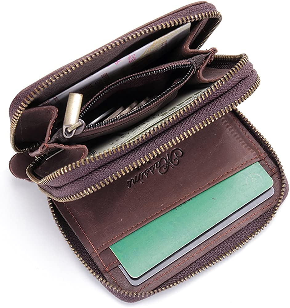 Compact Pocket Coin Purse Leather Zipper Closure Card Wallet