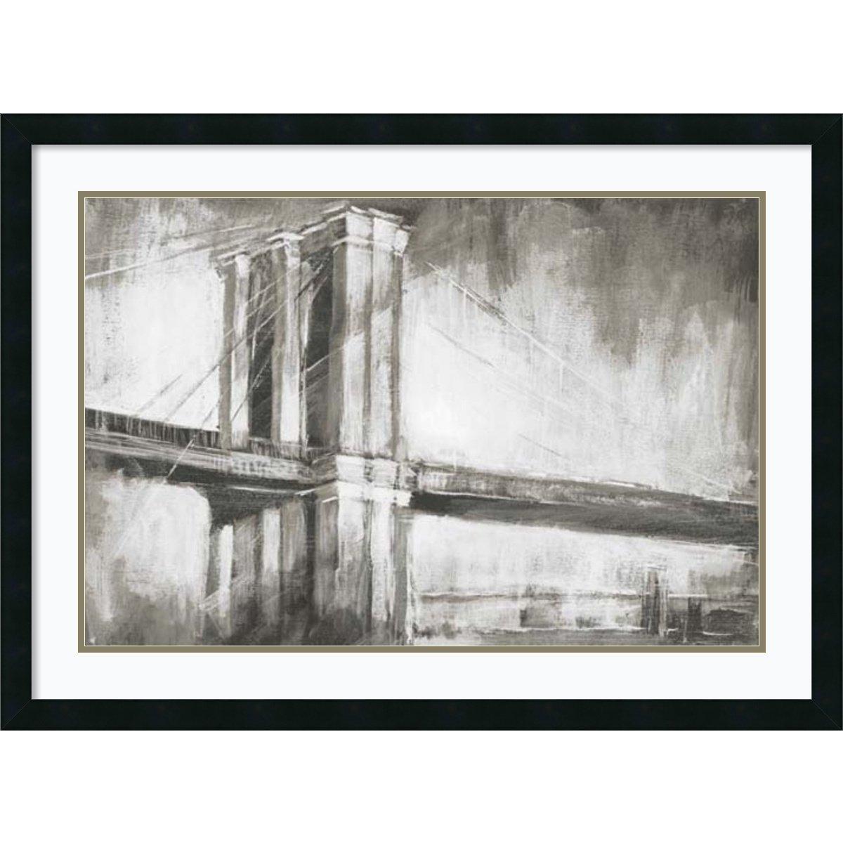 Framed Art Print 'Historic Suspension Bridge II' by Ethan Harper: Outer Size 37 x 27''