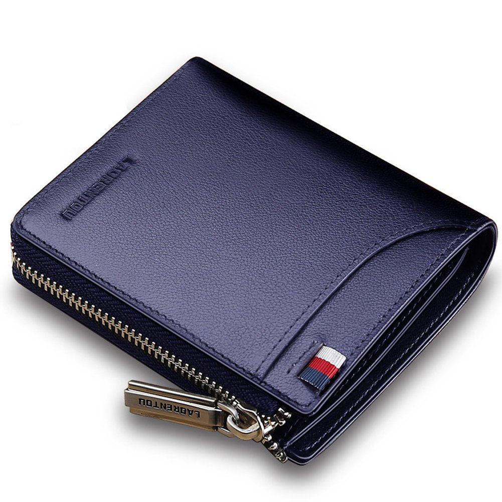LAORENTOU Men Genuine Leather Wallet Fashion Pocket Short Wallet Card Holder for Man (Blue)