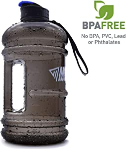 2.2L Large Reusable Water Bottles Half Gallon Water Jug Dishwasher Usable/Ecofriendly/Tritan No BPA Plastic/Leakproof/Odorless/Wide Mouth Drinking Gym Water Jug for Men Women Fitness Outdoor Gym