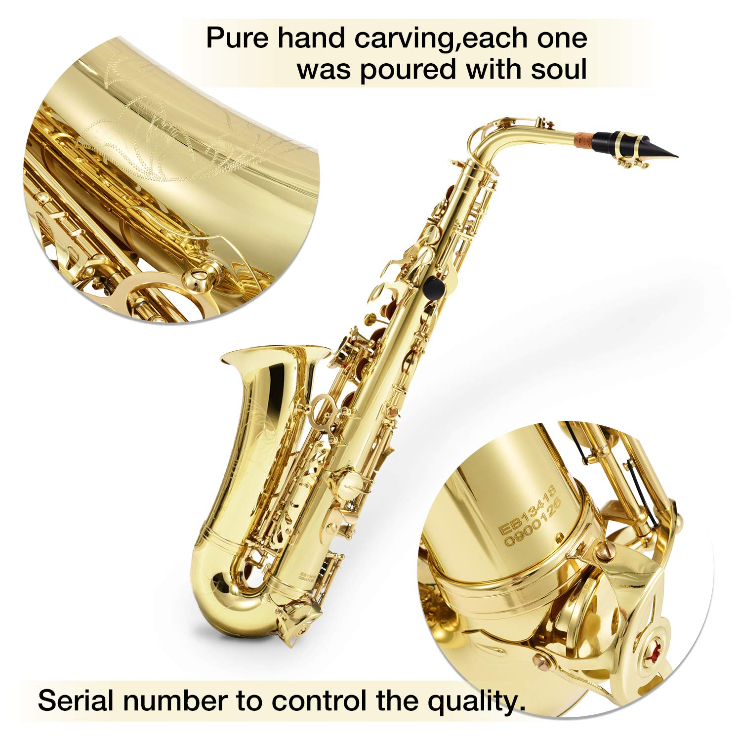 Eastar AS-Ⅱ Student Alto Saxophone E Flat Gold Lacquer Alto Sax Full Kit With Carrying Sax Case Mouthpiece Straps Reeds Stand Cork Grease by Eastar (Image #3)