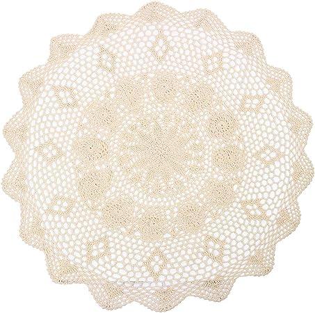 YIZUN Redonda Beige algodón Crochet Encaje Mantel de servilleta Hecho a Mano, diámetro 29 cm: Amazon.es: Hogar