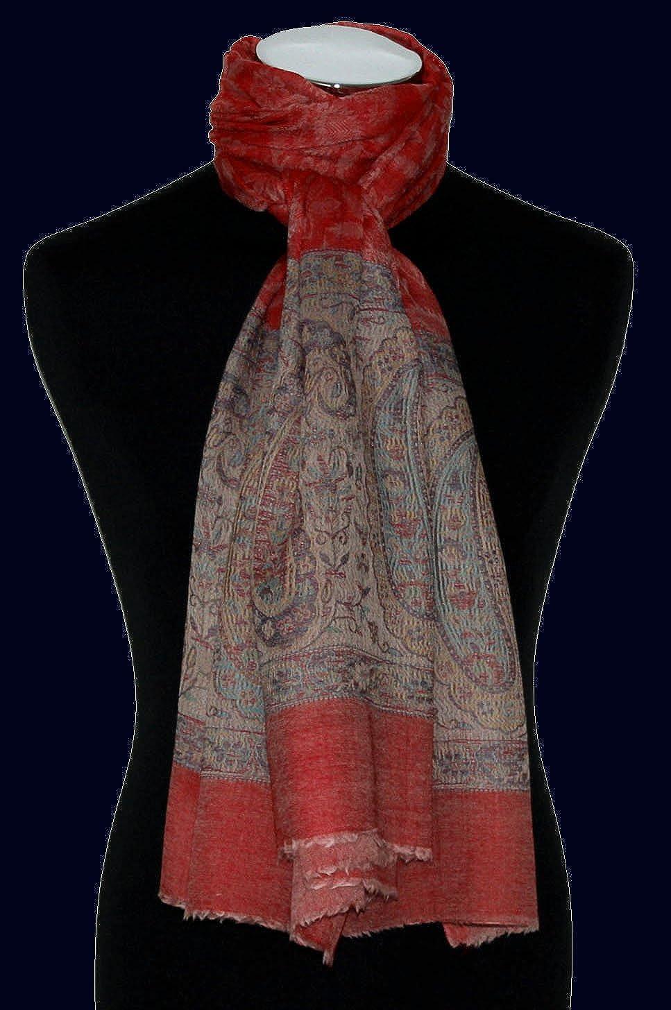 Schaltuch Kaschmirtuch Kaschmirpashmina 78363 70 cm x 200 cm jacquard gewebter Paisleymuster Schal Rot Lorenzo Cana Luxus Pashmina Damen Kaschmirschal 100/% Kaschmir
