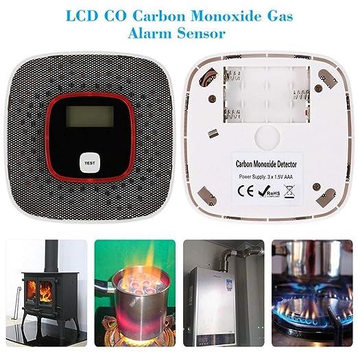 Detectores de monóxido de Carbono Alarma de monóxido de Carbono, Detector de CO Alta sensibilidad con Display LCD Pantalla Digital (Black)