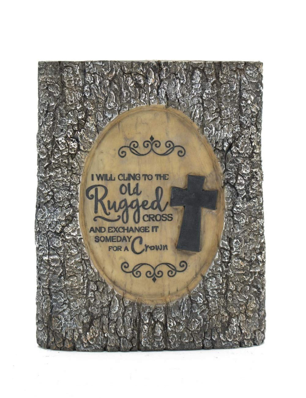 9.25 X 1.5 X 11.25 Tremont Floral Resin BARK Plaque Old Rugged Cross Roll Over Image to Zoom in Resin BARK Plaque Amazing Grace
