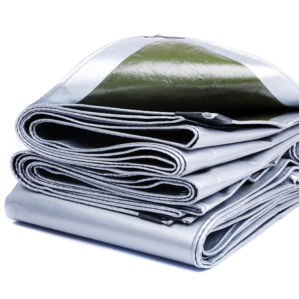 CAOYU Wasserdichtes Starkes Hochleistungsmaschendraht-LKW-Fachzelt-Tuch der Zeltplane Hochtemperatur Anti-Altern, Armeegrün + Silber