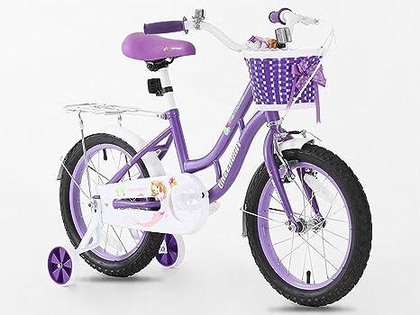Princesa morado niña de bicicletas en tamaño 16 pulgadas ajustable ...
