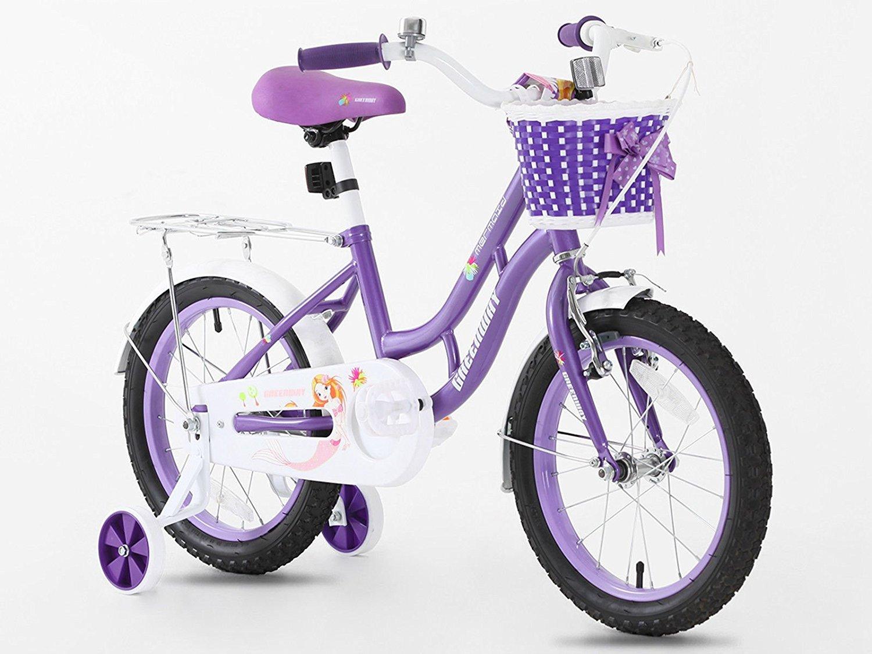 Prinzessin Lila Girl & 039;s Fahrräder in Größe 40,6 cm verstellbar Abnehmbare Stabilisatoren + vorne Korb