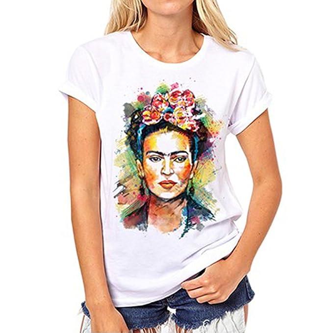 Jahurto Camiseta para Mujer de Manga Corta Artista Mexicana Frida Kahlo Personalizada (Color : White