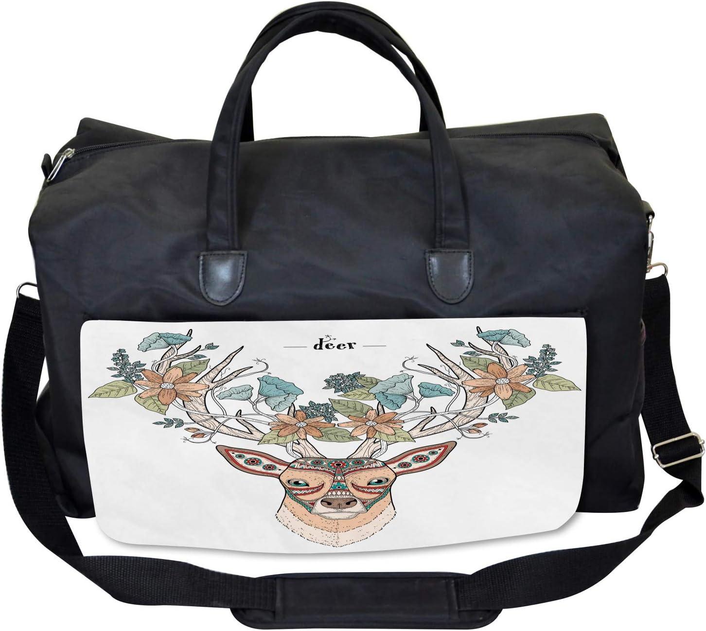 Large Weekender Carry-on Ambesonne Antlers Gym Bag Deer Head Floral Ethnic
