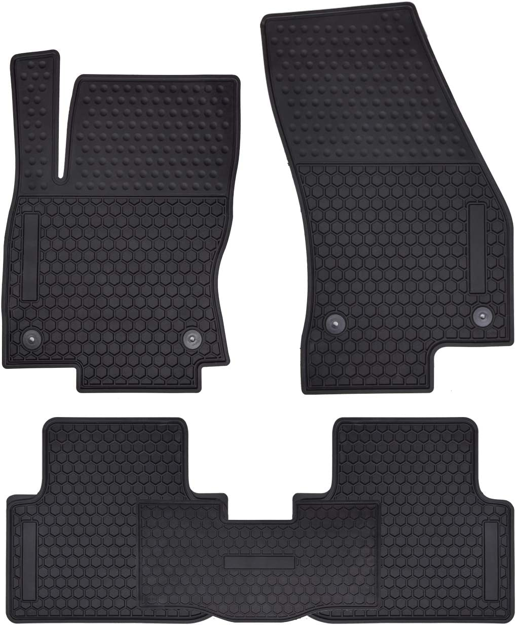 Megiteller Car Floor Mats Custom Fit for Volkswagen Tiguan 2010 2011 2012 2013 2014 2015 2016 2017 2018 2019 Odorless Washable Heavy Duty Rubber All Weather Floor Liners Front and Rear Row Set