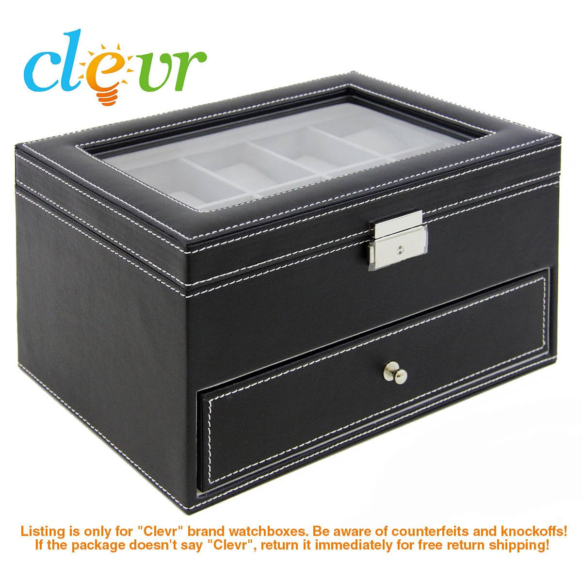 Watch Box Large 20 Mens Black Leather Display Glass Top Jewelry Case Organizer, Watch Box Leather Display Glass Top Jewelry Case Organizer Storage Black