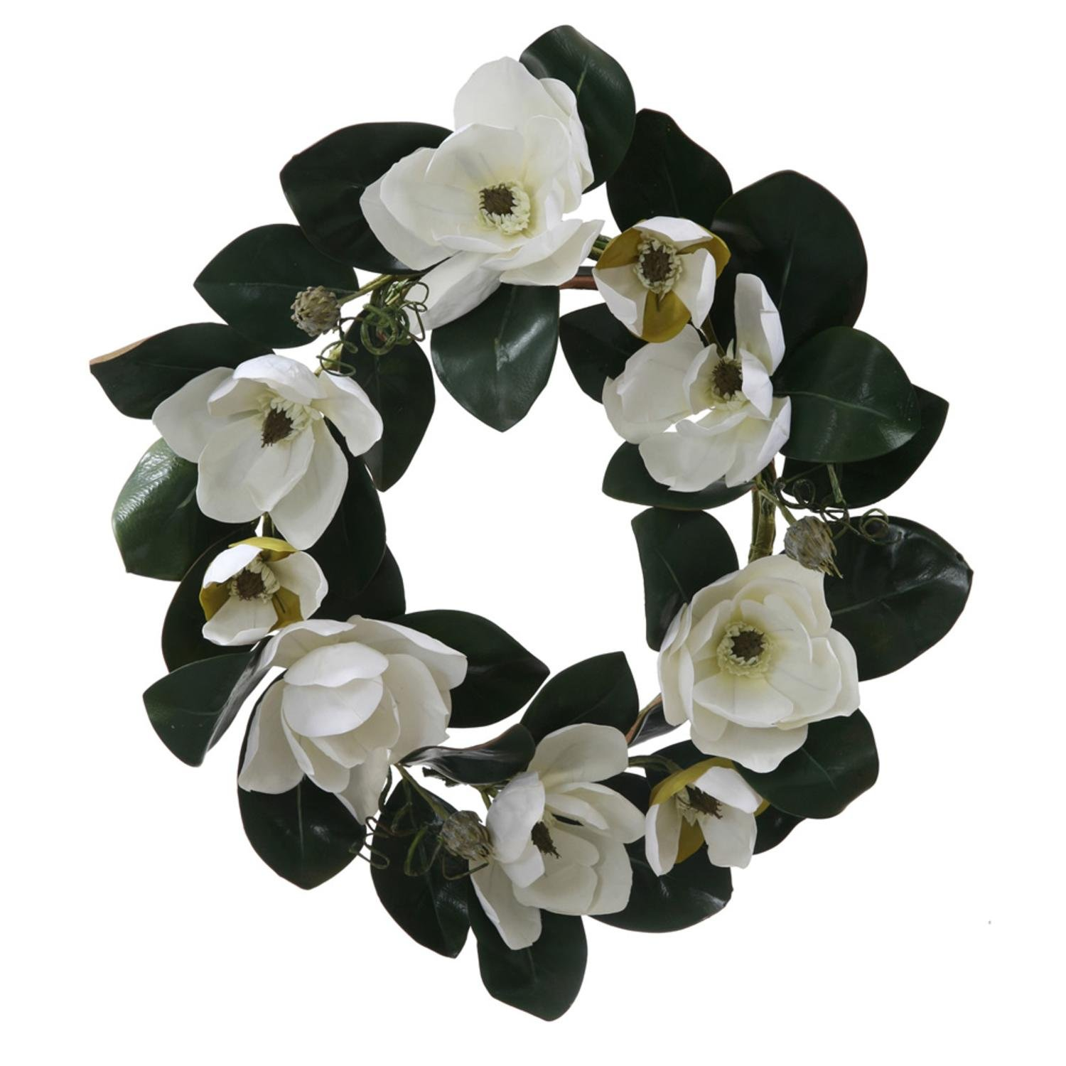 Amazon 26 white magnolia flower and leaves artificial silk amazon 26 white magnolia flower and leaves artificial silk floral wreath unlit home kitchen mightylinksfo Images