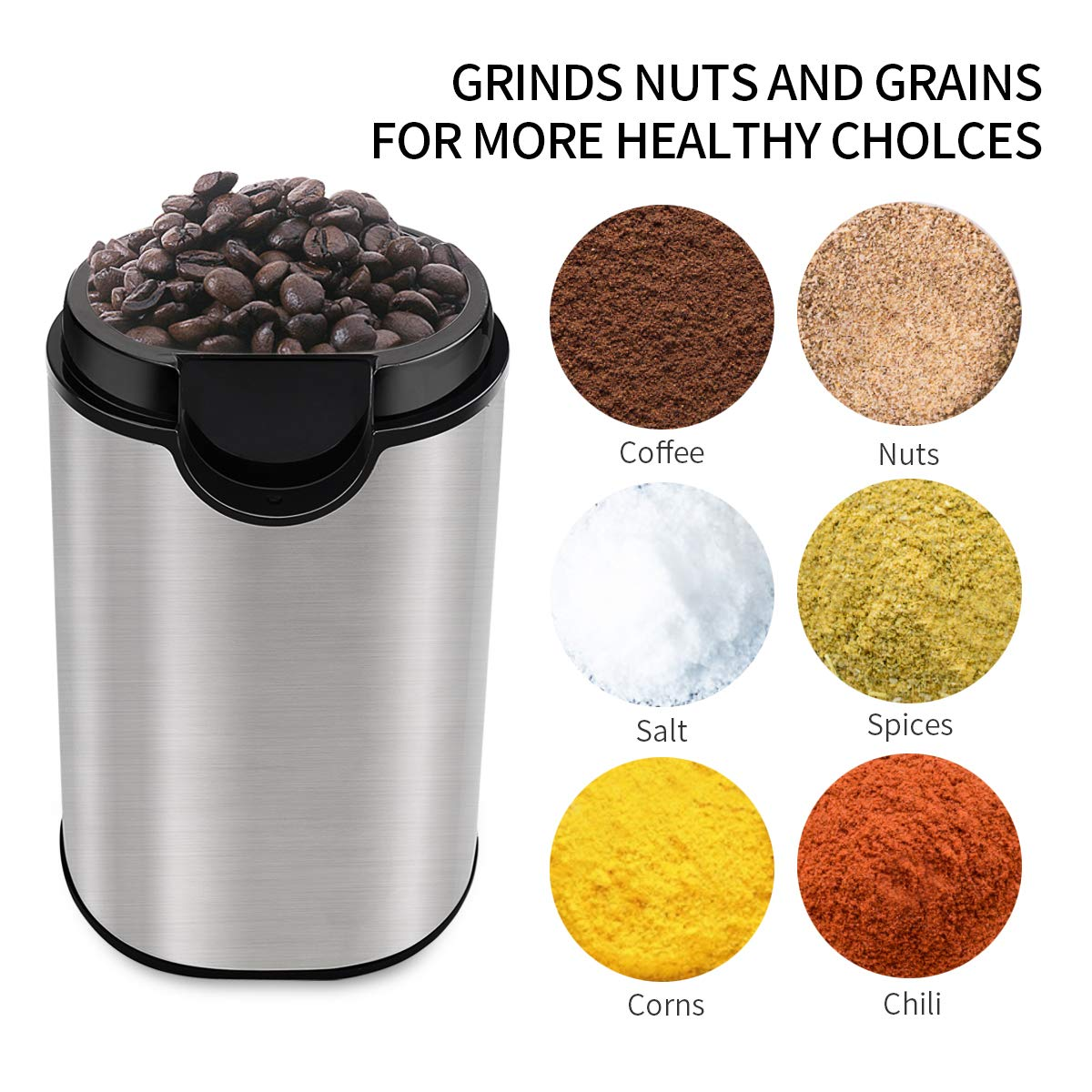 Electric Coffee Grinder with 304 Stainless Steel Blades for Coffee Beans, Nuts, Herbs, Grains Spices - Silver
