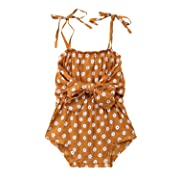 Newborn Baby Girls Floral Strappy Bow Romper Jumpsuit Sunsuit Summer Outfits (6-12 Months) Yellow