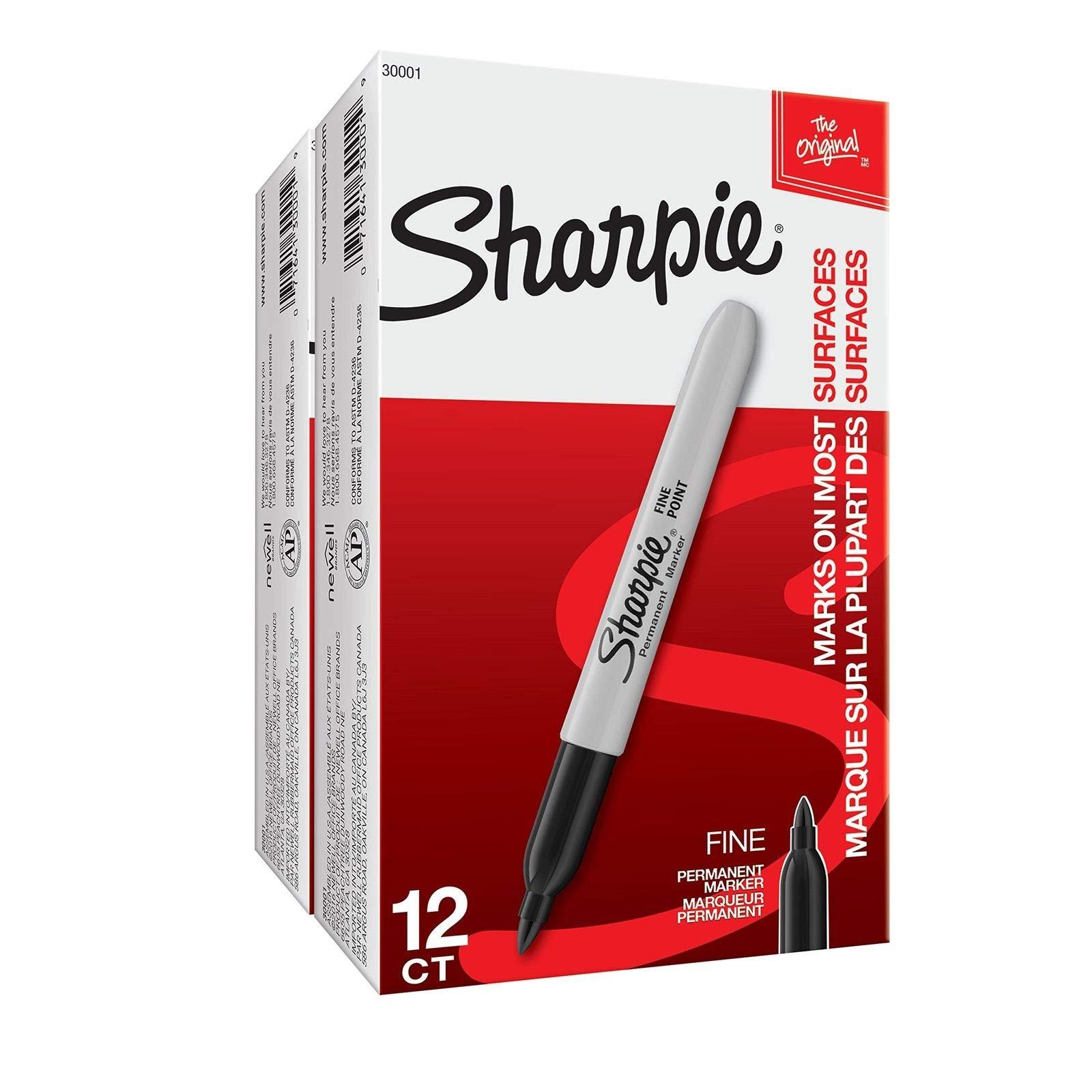 Sharpie Fine Tip Permanent Marker Black (30001) Case of 24 Dozens by Sharpie (Image #1)