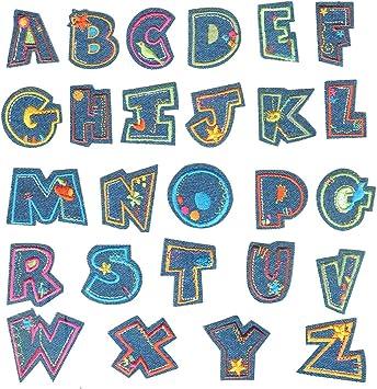 A-Z Aufnäher Patch Buchstaben Aufbügler DIY Kind Namen Patches für Jeans Taschen