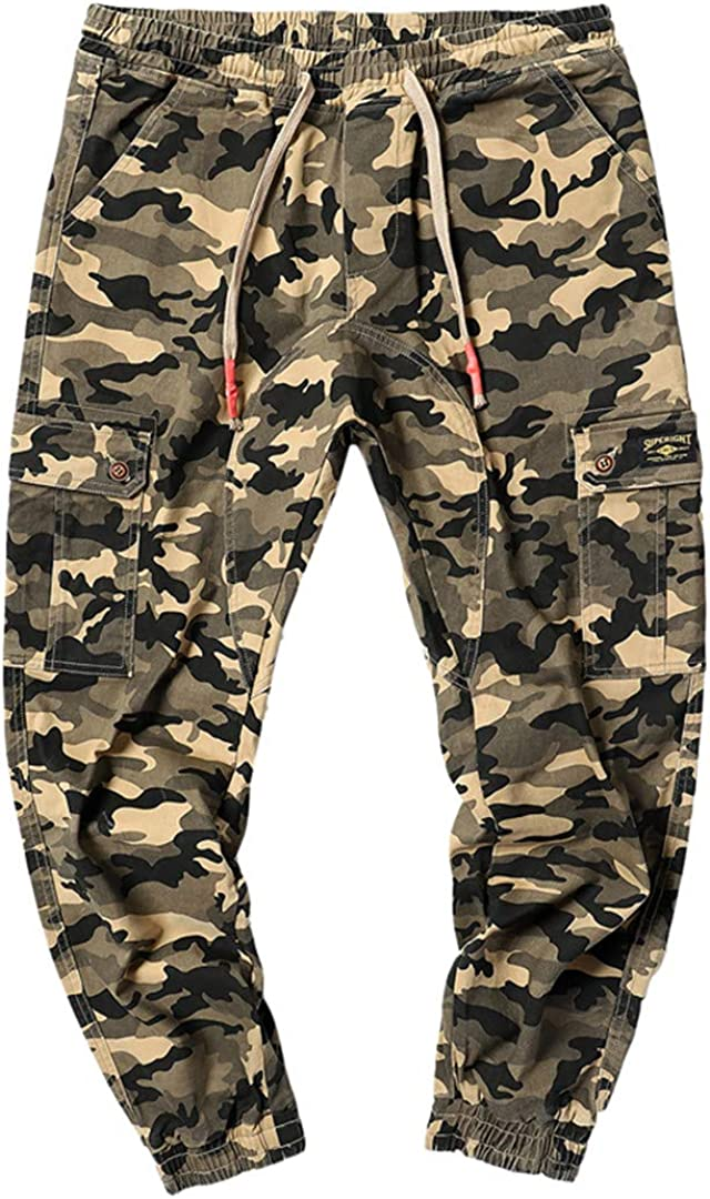 PUNKDBOTTO Mens Ankle Legth Pants Camouflage Hip Hop Streetwear Jogger Male Trousers Large Sizes Cargo Camo Pants