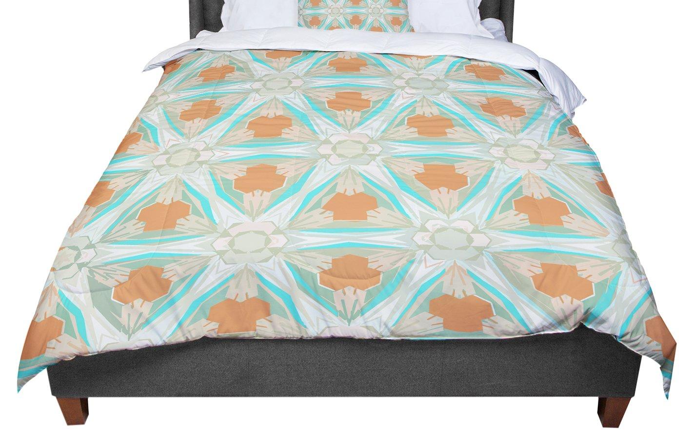 68 X 88 KESS InHouse Alison Coxon Moorish Teal White Teal Twin Comforter