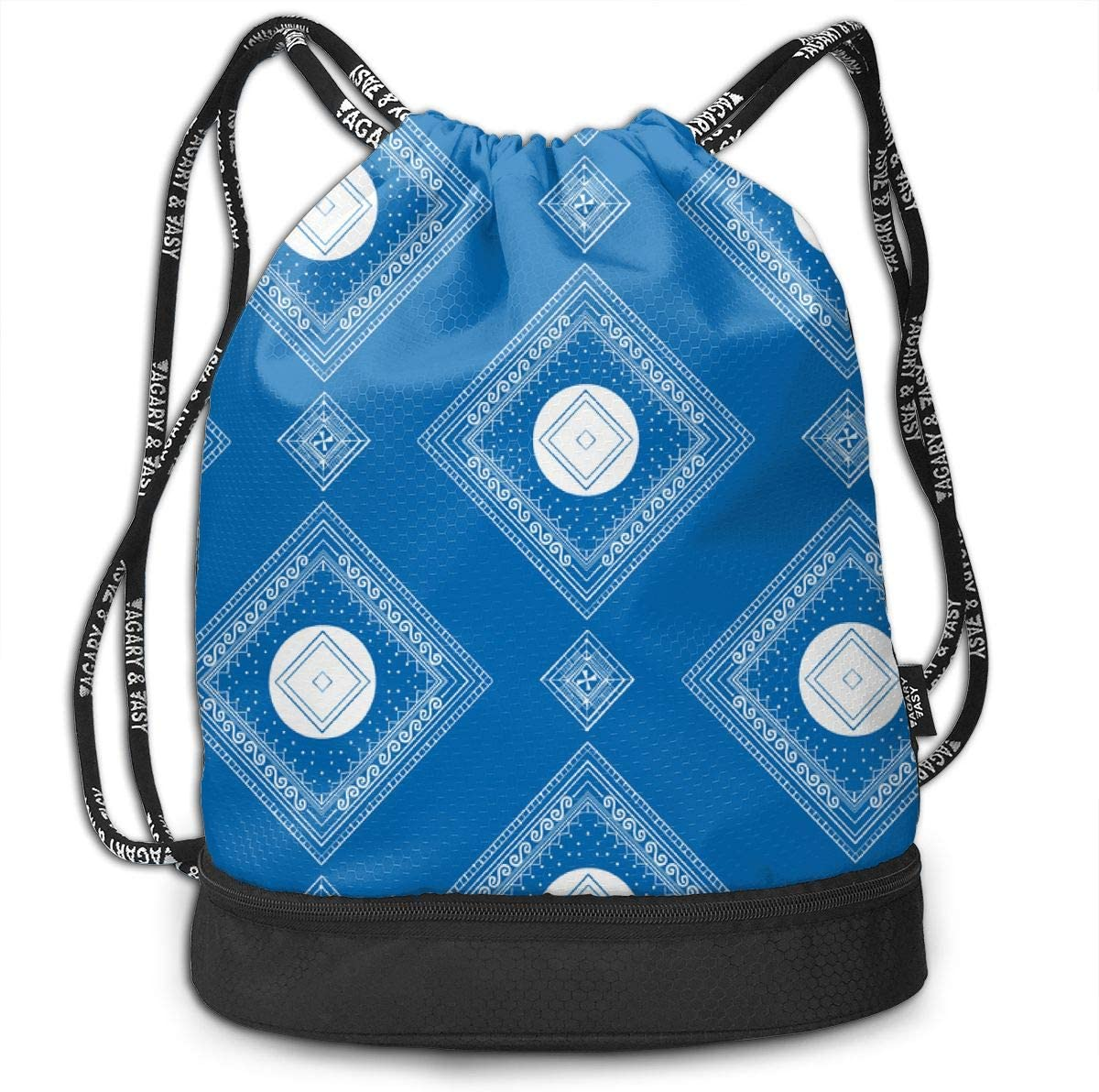 Blue Dot Block Drawstring Backpack Sports Athletic Gym Cinch Sack String Storage Bags for Hiking Travel Beach